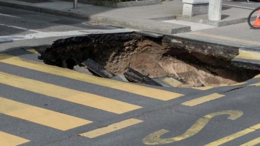 La route s'effondre sans faire de blessé à Genève