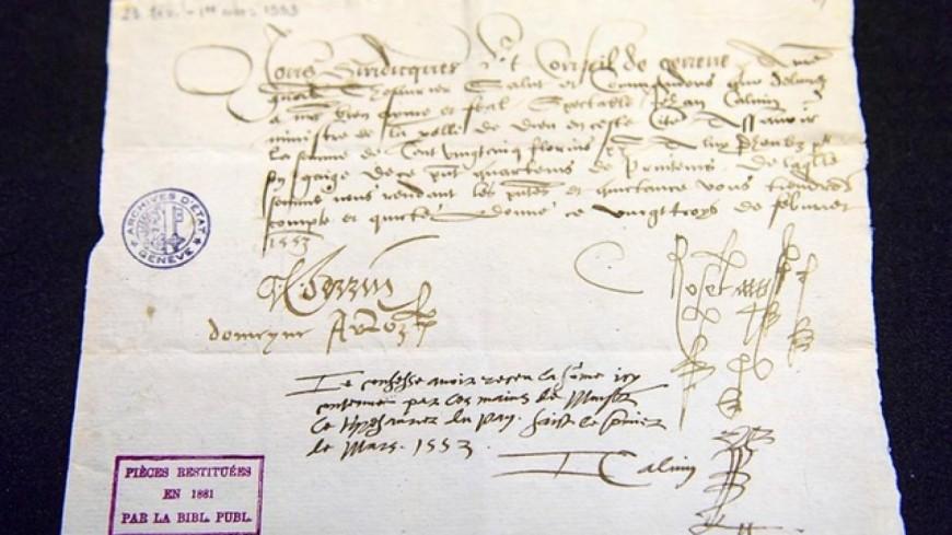 Un document patrimonial restitué à Genève