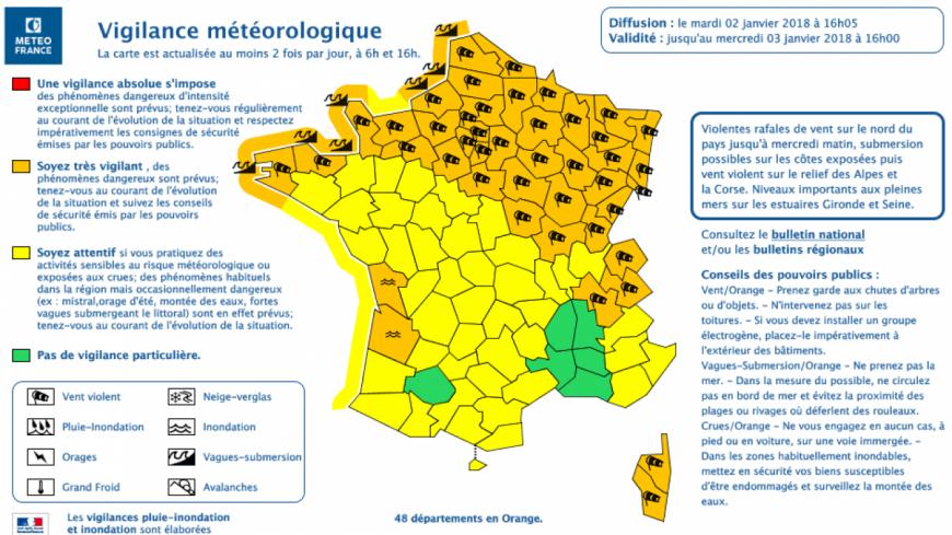 Vent violent et fortes pluies en Pays de Savoie