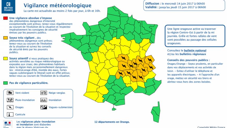 Les Savoie et l'Ain placés en vigilance orange orages